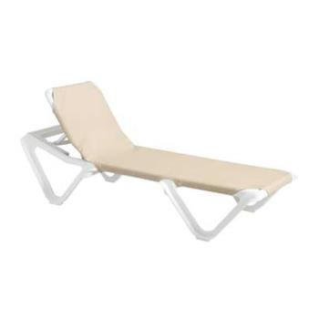 GFX99101003 - Grosfillex - 99101003 - Khaki/White Nautical Sling Chaise Lounge - 12 Pack Product Image