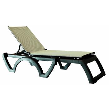 GFXUS636002 - Grosfillex - US636002 - Gray / Charcoal Calypso Adjustable Sling Chaise Product Image