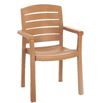 GFX46119008 - Grosfillex - 46119008 - Teakwood Acadia Classic Dining Armchair - 12 Pack Product Image