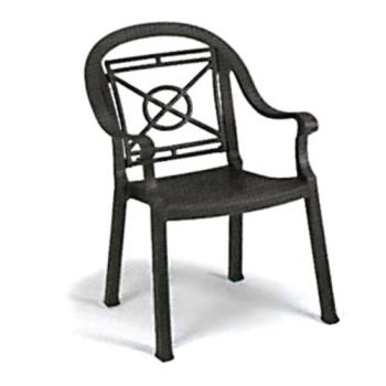 GFXUS214002 - Grosfillex - US214002 - Charcoal Victoria Classic Dining Armchair - 4 Pack Product Image