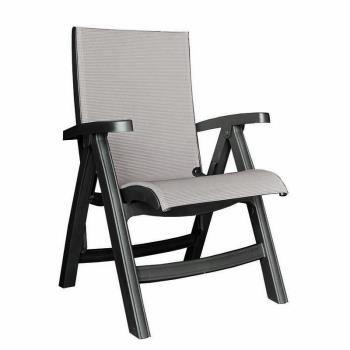 GFXUS355002 - Grosfillex - US355002 - Gray / Charcoal Belize Midback Folding Sling Chair Product Image
