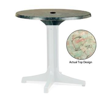 "GFX99811037 - Grosfillex - 99811037 - Onyx Marble 36"" Round Table Top w/ Umbrella Hole Product Image"