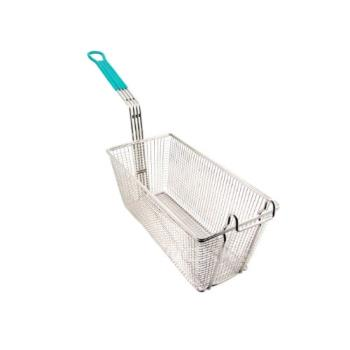 75953 - Winco - FB-30 - 13 1/4 in x 6 1/2 in x 5 7/8 in Fry Basket with Green Handle Product Image