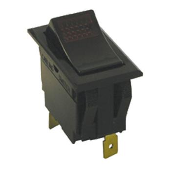42130 - Commercial - SPST On/Off 3 Tab Red Lighted Rocker Switch Product Image