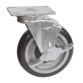 13113 - BK Resources - 5SBR-1PT-PLY-PS4 - 5 in Swivel Plate Caster Set Product Image