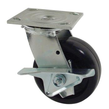 "35120 - Commercial - 2 3/4"" x 4 1/2"" Hole Center Swivel Plate Caster w/ 5"" Wheel & Brake Product Image"