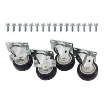 35810 - Commercial - Heavy Duty Swivel Plate Caster Set with  3 in Wheels Product Image