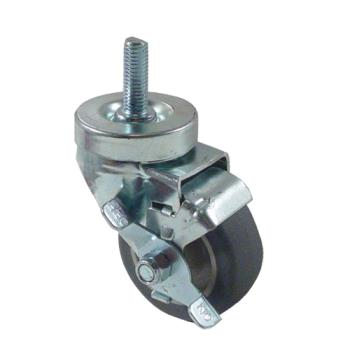 35758 - Kason - 6C523022PPPGTLB - 1/2 in Threaded Stem Caster With 3 in Wheel and Brake Product Image
