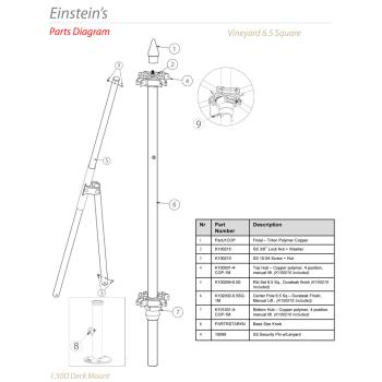 - Tuuci - Einstein's 6.5 ft Square Umbrella Parts Product Image