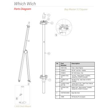 - Tuuci - Which Wich 5.5 ft Square Umbrella Parts Product Image
