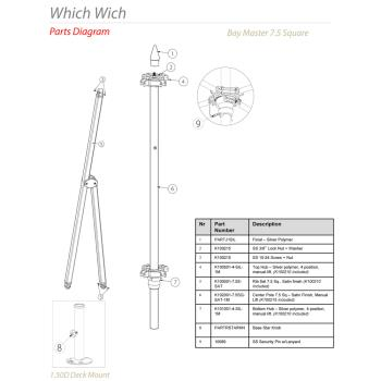 - Tuuci - Which Wich 7.5 ft Square Umbrella Parts Product Image