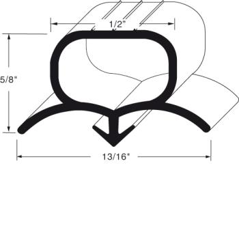 "BEV712024D07 - Beverage Air - 712-024D-07 - 9"" x 48"" Door Gasket Product Image"