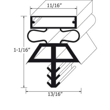25207 - McCall/Kolpak - 225181075 - 36 1/2 in x 77 1/2 in 3-Sided Magnetic Gasket Product Image