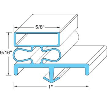 25312 - Vollrath - 53150-2565 - 78 1/2 in x 38 1/16 in 3-Sided Right Door Gasket Product Image