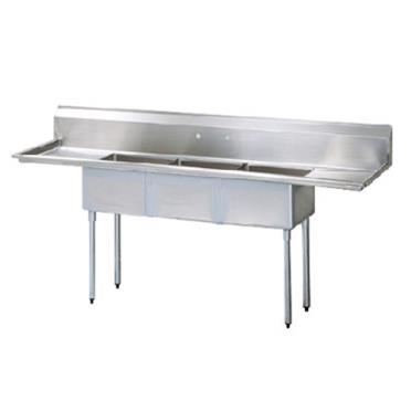 Commercial Kitchen Sinks 3 Compartment : SKU: TURTSC3D2 Plumbing / Sinks / Kitchen Sinks / 3 Compartment Sinks