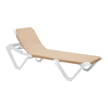 Grosfillex us101181 nautical taupe white chaise lounge etundra - Chaise daling ...