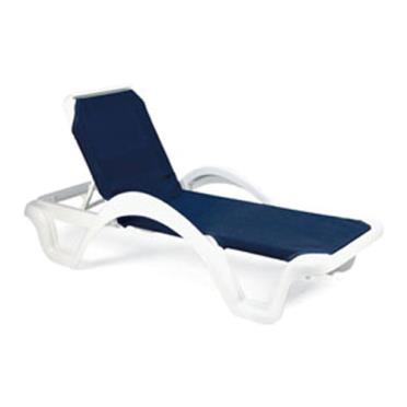Grosfillex us202006 blue white catalina sling chaise for Blue sling chaise lounge