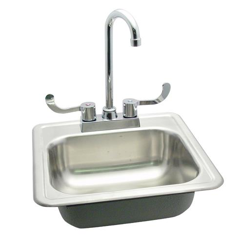 commercial 15 drop in hand sink w faucet 15 x 15 single bowl bar sink ...