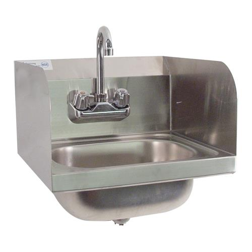 Commercial wall mount hand sink w splash guards etundra for Splash guard kitchen sink