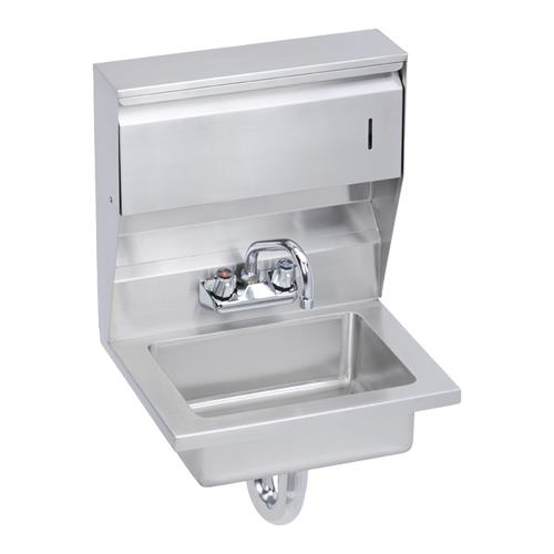 "18"" x 14 1/2"" Hand Sink w/Soap & Towel Dispensers, Overflow & P-Trap at Discount Sku EHS-18-TDX ELKEHS18TDX"