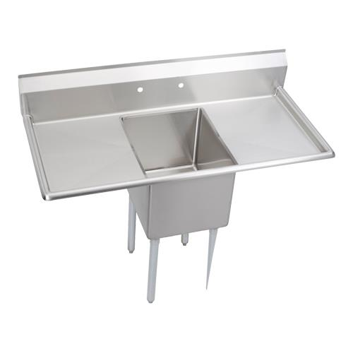 """14"""" Standard 52""""L One Compartment Sink w/Left & Right 18"""" Drainboards at Discount Sku 14-1C16X20-2-18X ELK141C1620218X"""