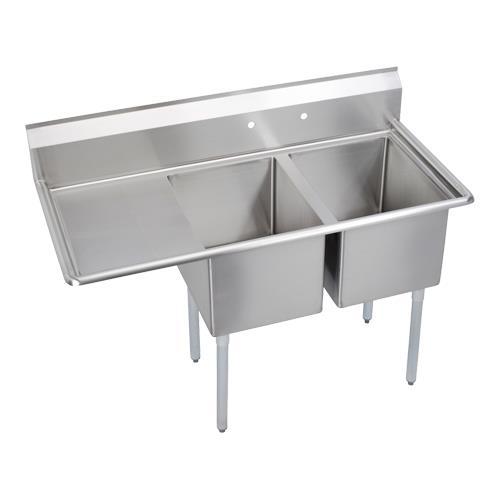 """14"""" Standard 54 1 /2""""L Two Compartment Sink w/Left 18"""" Drainboard at Discount Sku 14-2C16X20-L-18X ELK142C16X20L18X"""