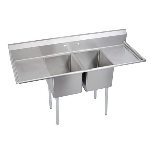 """14"""" Standard 98""""L Two Compartment Sink w/Left & Right 24"""" Drainboards at Discount Sku 14-2C24X24-2-24X ELK142C24X24224X"""