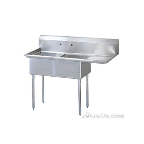 "75"" Two Compartment Sink w/ 24"" Right Drainboard at Discount Sku TSB-2-R2 TURTSB2R2"