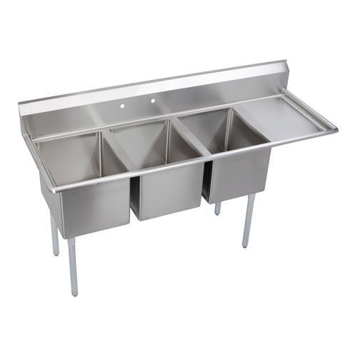 """14"""" Standard 72 1/2""""L Three Compartment Sink w/Right 18"""" Drainboard at Discount Sku 14-3C16X20-R-18X ELK143C16X20R18X"""