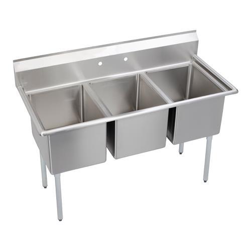 """12"""" Standard 63""""L Three Compartment Sink at Discount Sku 3C18X18-0X ELK3C18X180X"""