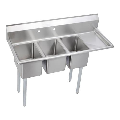 Commercial Kitchen Sinks 3 Compartment : ... in Three Compartment Sink With Right 12 in Drainboard Product Image