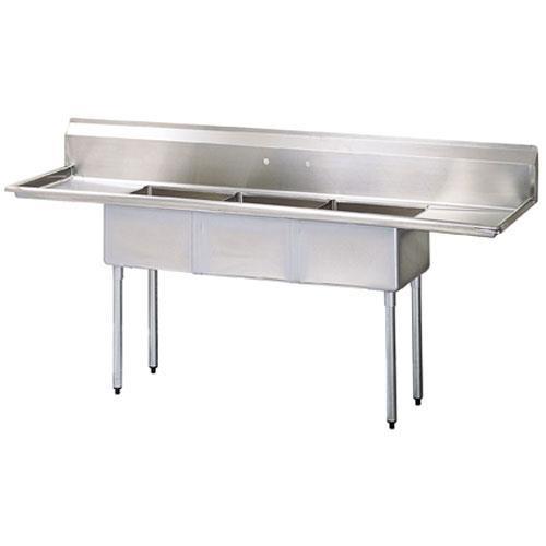 "102"" Three Compartment Sink w/ 24"" Drainboards at Discount Sku TSA-3-14-D2 95350"
