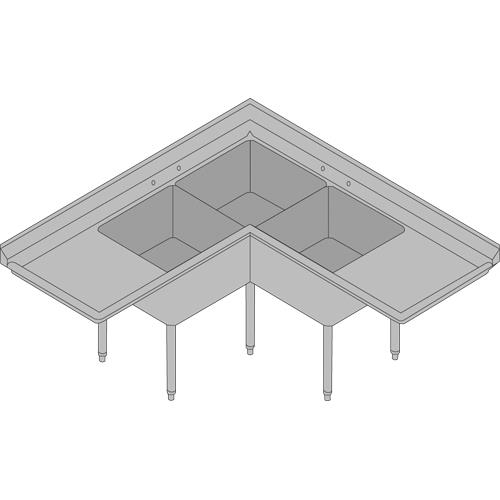 Commercial Kitchen Sinks 3 Compartment : ... TSA-3C-D1 - Corner Type Three Compartment Sink w/ 18 in Drainboards