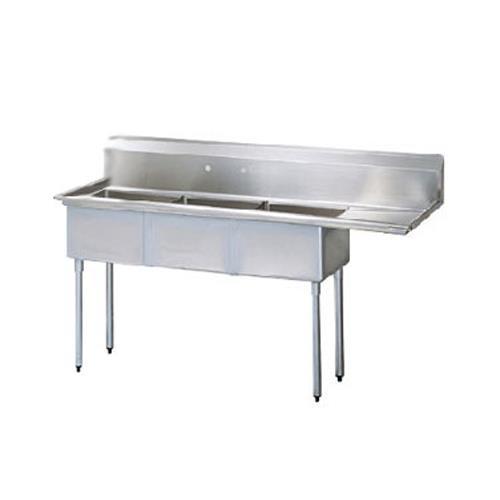 """98 1/2"""" Three Compartment Sink w/ 24"""" Right Drainboard at Discount Sku TSB-3-R2 TURTSB3R2"""