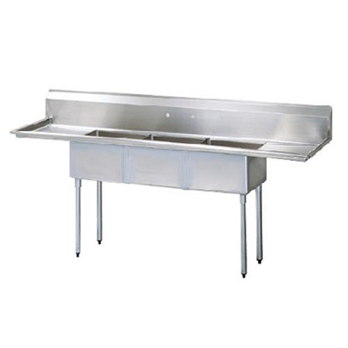 "72"" Three Compartment Sink w/ 15"" Drainboards at Discount Sku TSCS-3-23 TURTSCS323"