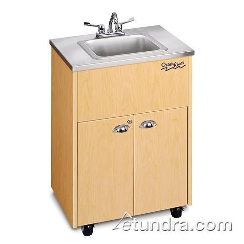 Silver Premier Series Single Deep Stainless/Maple Portable Hand Sink at Discount Sku ADSTM-SS-SS1DN OZRADSTMSSSS1DN