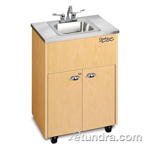 Silver Premier Series Single Stainless/Maple Portable Hand Sink at Discount Sku ADSTM-SS-SS1N OZRADSTMSSSS1N