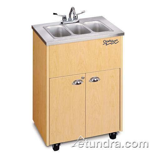 Silver Premier Series Triple Stainless/Maple Portable Hand Sink at Discount Sku ADSTM-SS-SS3N OZRADSTMSSSS3N