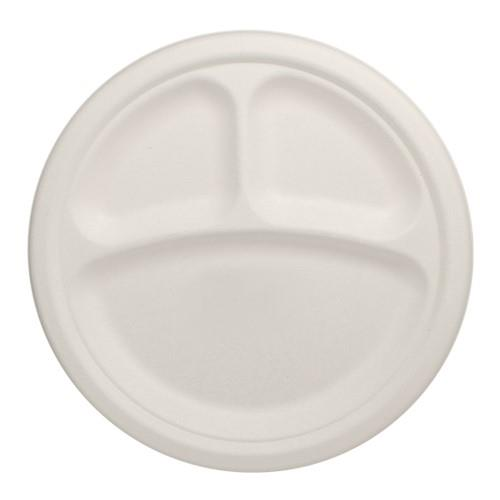 9 in Round 3-Compartment Bagasse Plates