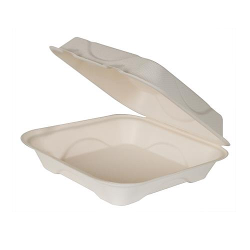 ECO-PRODUCTS - EP-HC91 - 9 X 9 X 3 RENEWABLE AND COMPOSTABLE HINGED SUGARCANE CLAMSHELLS