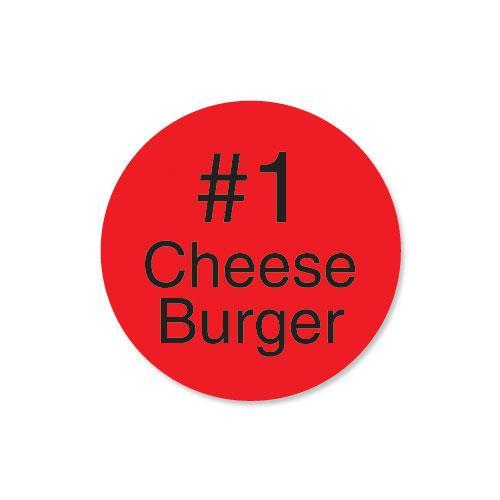 DuraMark 1 in Round #1 Cheeseburger Label at Discount Sku 111994 DAY111994