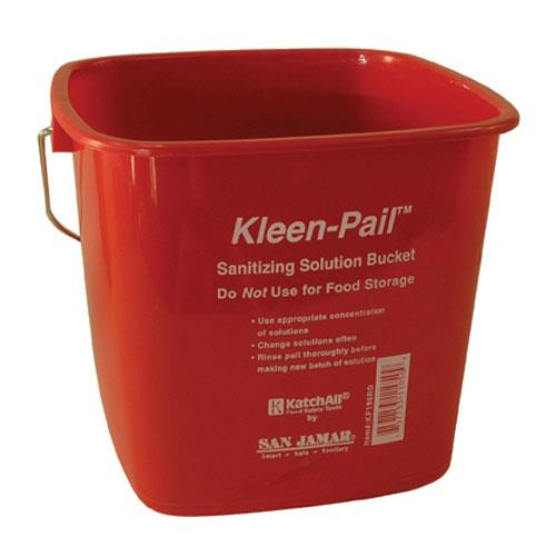 San Jamar - KP196RD - Kleen-Pail® 6 Qt Red Sanitizer Bucket