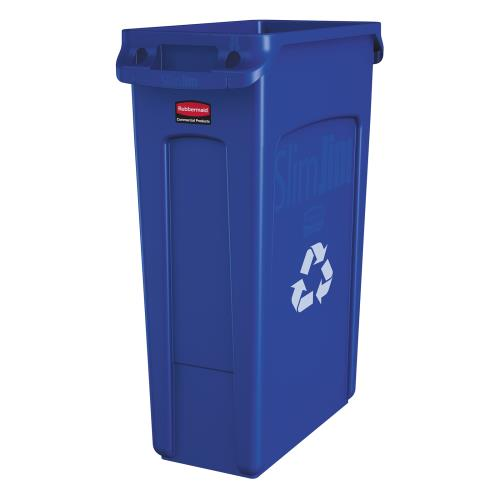 RUBBERMAID - FG354007BLUE - 23 GAL SLIM JIM® RECYCLING CONTAINER WITH HANDLES
