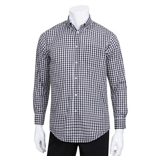 Chef works d500bwc 2xl men 39 s black gingham dress shirt for Men s red gingham dress shirt