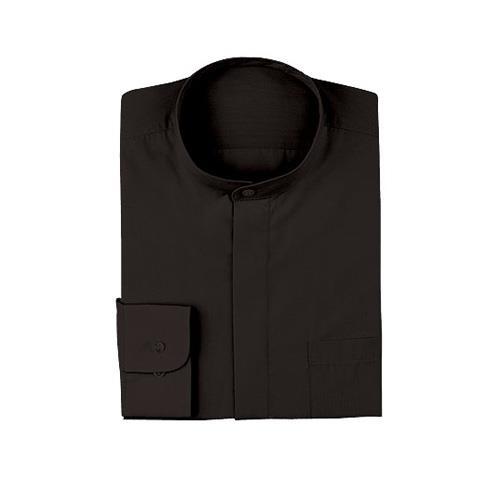 Womens Black Banded-Collar Dress Shirt (S)