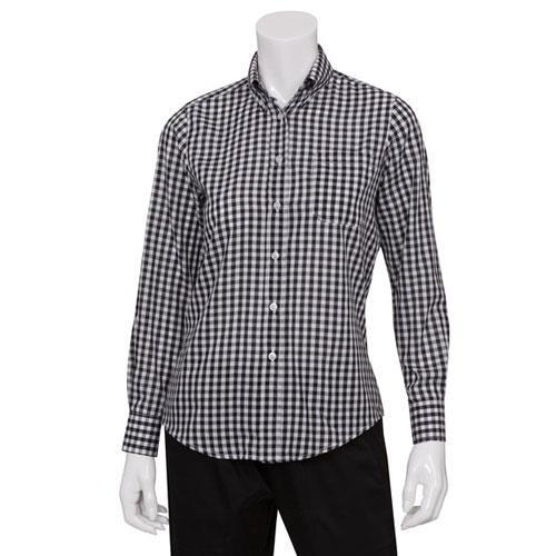 Womens Black Gingham Dress Shirt (L)