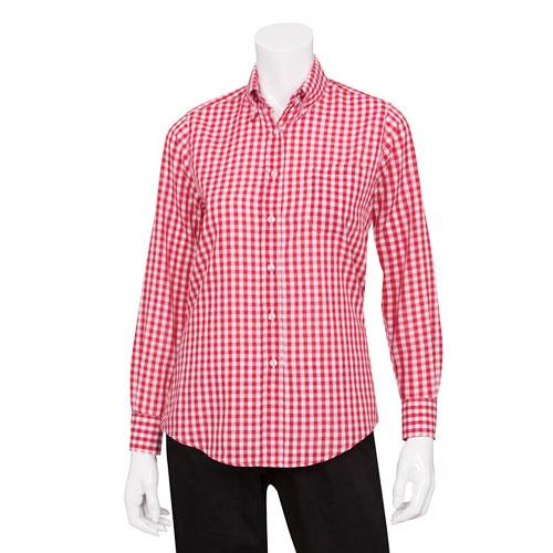 Chef works w500wrc l women 39 s red gingham dress shirt large for Pink gingham shirt ladies