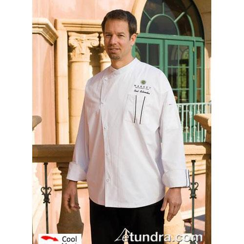 Amalfi White/Black Chef Coat (2XL) at Discount Sku SILS-WET-2XL CFWSILSWET2XL