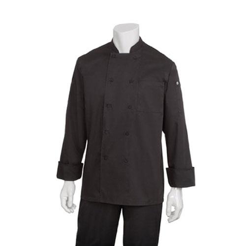 Chef Works JLLS-BLK-XL XL Black Calgary Cool Vent Chef Coat for Restaurant Chef