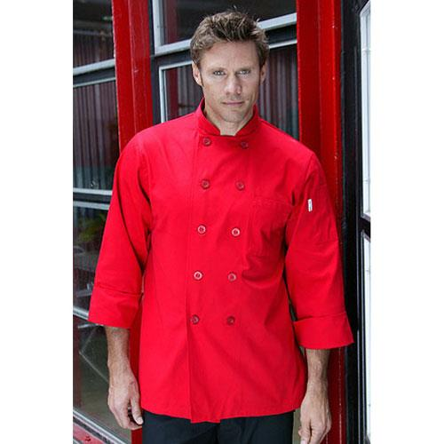 Chef Works REPC-RED-M Nantes Red Chef Coat (M) for Restaurant Chef